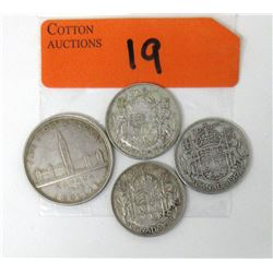 3 Half Dollars & 1939 Canadian Silver Dollar Coin
