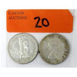 One 1953 & One 1958 Canadian 80%  Silver Dollar