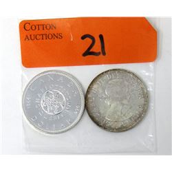 Two 1964 Canadian 80% Silver Dollar Coins