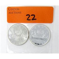 One 1963 & One 1965 Canadian 80%  Silver Dollar