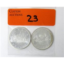 Two 1965 Canadian 80% Silver Dollar Coins