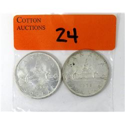 Two 1966 Canadian 80%  Silver Dollar Coins
