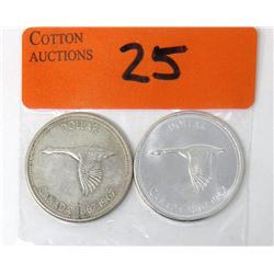 Two 1967 Canadian Centennial  80%  Silver Dollars