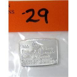 1 Oz. .999 Fine Silver Beaver Bullion Bar