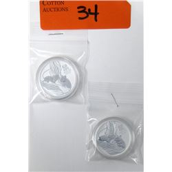 """2 x 1/2 Oz .999 Silver """"2020 Year of the Rat"""" Coins"""