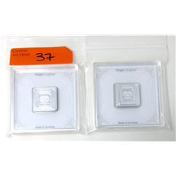 Two 20 Gram Geiger Edelmetalle.999 Silver Bars