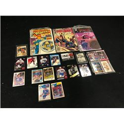 ASSORTMENT OF SPORTS CARDS AND COMIC BOOKS