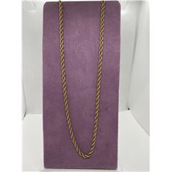 ONE 14KT YELLOW GOLD ROPE STYLE LINK CHAIN.