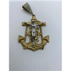ONE 10KT YELLOW GOLD AND WHITE GOLD FAITH AND HOPE PENDANT.