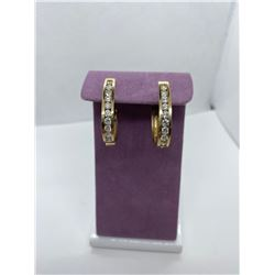 ONE PAIR OF 14KT YELLOW GOLD DIAMOND SET HOOP STYLE EARRINGS. REPLACEMENT VALUE $4.950.00