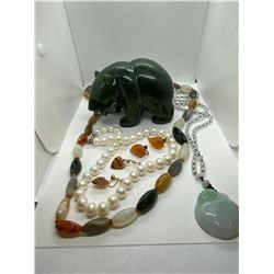 ONE NEPHRITE JADE (B.C. JADE) BEAR CARVING, REPLACEMENT VALUE: $ 250.00, ONE LONG STRAND OF MULTI
