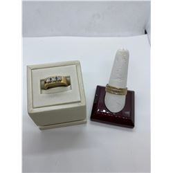 ONE LADIES 14KT YELLOW GOLD AND WHITE GOLD DIAMOND SET DRESS RING. REP VAL $1,800.00, ONE 14KT