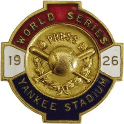 1926 World Series (New York Yankees) Press Pin