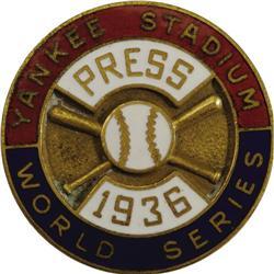 1936 World Series (New York Yankees) Press Pin