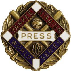 1939 World Series (New York Yankees) Press Pin