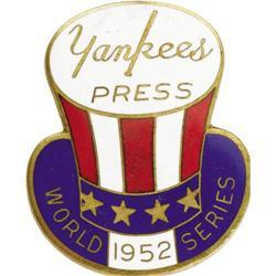 1952 World Series (New York Yankees) Press Pin