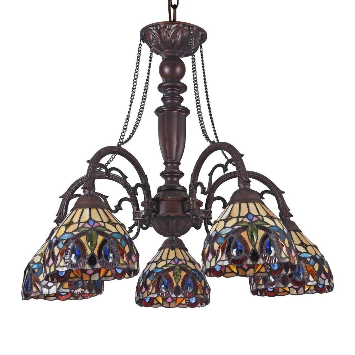 Victorian Tiffany Style Stained Glass Chandelier