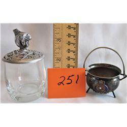 POT (AORIATIC CREST) + GLASS CUP c/w PEWTER L10