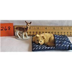 CERAMIC DOG IN BLANKET - DEER FIGURINE (MARKED GERMANY)