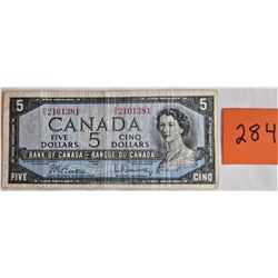 CANADA 5.00 BILL - 1954 D/X 2161281 - BEATTIE / ROSMINSKY