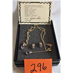 """GENUINE AMETHYST - 1CT - PENDENT / EAR STUBS / PIN 18"""" CHAIN CERTIFICATE OF AUTHENTICITY"""