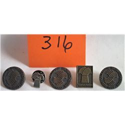 5 - SASK LAPEL PINS - 1905 - 1980 - 75TH ANNIVERSARY