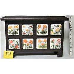WOODEN TABLE TOP STORAGE CHEST / 8 FLORAL CERAMIC DRAWERS