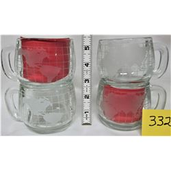 SET 4 VINTAGE 1970'S NESTLE NESCAFE WORLD GLOBE PROSTED GLASS COFFEE CUPS