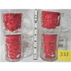 """SET 4 1995 McDONALD'S BATMAN """"FIGURAL"""" GLASS CUPS / MUGS, BATMAN - ROBIN - RIDDLER - TWO FACE"""
