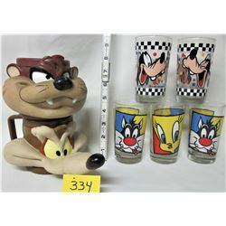 5X 1994 DISNEY GLASSES (THREE TWEETY + SYLVESTRE, TWO PLUTO), 2X 1992 KFC PLASTIC FIGURAL MUGS (WILE
