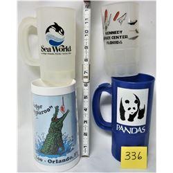 LOT 4 VINTAGE PLASTIC 1980'S FLORIDA SOUVENIER MUGS (SEA WORLD - BUSH GARDENS - KENNEDY SPACE CONTRO