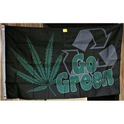 "5' X 3' ""GO GREEN"" MARIJUANA FLAG"