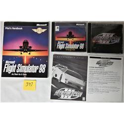 2X PC COMPUTER GAME CD'S + INSTRUCTIONS (MICROSOFT FLIGHT SIMULATOR 98 + EA NEED 4 SPEED - HOT PURSU