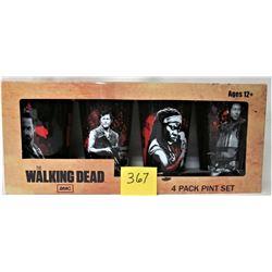 "2013 SET 4 NEW BOXED AMC ""WALKING DEAD"" HERO PINT GLASS SET"