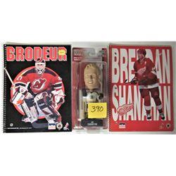 NEW 2002/03 NHL JOE THORNTON - BOSTON BOBBLE HEAD, NEW MARTIN BRODEUR + BRENDAN SHANAHAN SCRIBBLERS