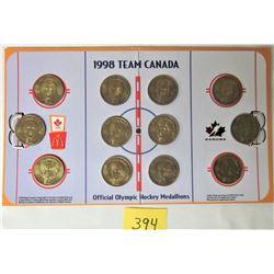 SET 12 1998 McDONALD'S TEAM CANADA OLYMPIC MEDALLION COIN SET