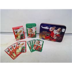SANTA COCA-COLA TIN WITH PLAYING CARDS
