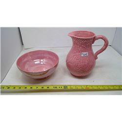 MALING BOWL AND PINK PITCHER (ENGLAND)