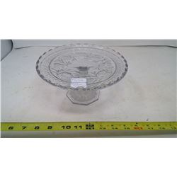 PRESSED GLASS CAKE STAND - FLOWER AND FERN CIRCA 1910