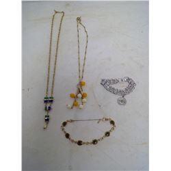 LOT OF SARAH COVENTRY JEWELRY - 2 NECKLACES / 2 BRACELETS
