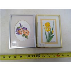 DAFFODIL AND PONSY WATERCOLOURS BY JUNE SZAMABATHY