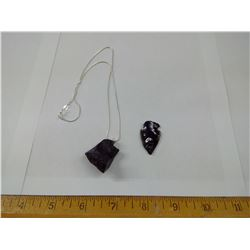 OBSIDIAN NECKLACE - 925 SILVER CHAIN AND SHARPENED STONE