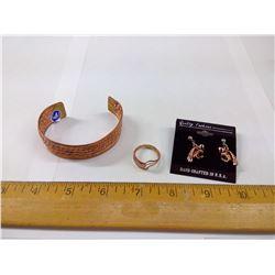 COPPER BRACELET, RING AND EAGLE EARRINGS