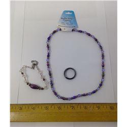 PURPLE HEMATITE MAGNETIC NECKLACE, RING, BRACELET