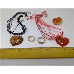 TWO HANDBLOWN GLASS HEART BEADS WITH COPPER, 2 COPPER RINGS, AND HEART