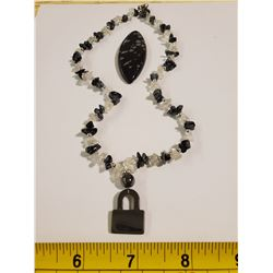 SNOWFLAKE OBSIDIAN NECKLACE AND SPECIMAN