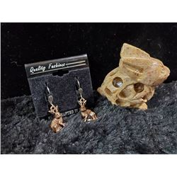 SOAPSTONE BUNNY AND COPPER EARRINGS