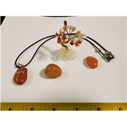 CARNELIAN NECKLACE, STONES AND TREE
