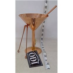 Copper Martini Glass, Straw, and Tongue Cleaner