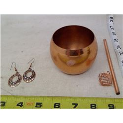 4 Piece Copper Mug, Straw, Earrings, and Stone Cage Pendant